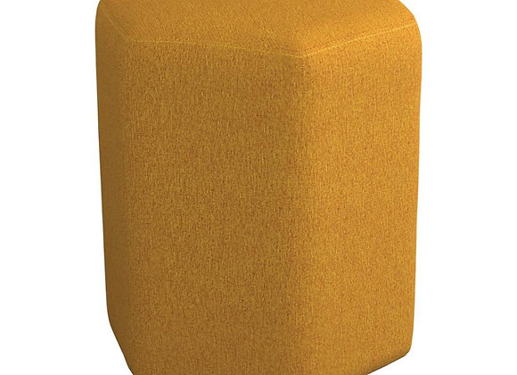 Hexagonal Upholstered Stool in Yellow