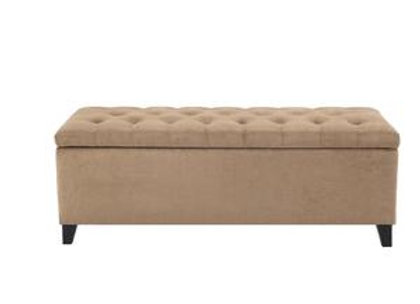 Shandra Tufted Top Storage Bench in Tan