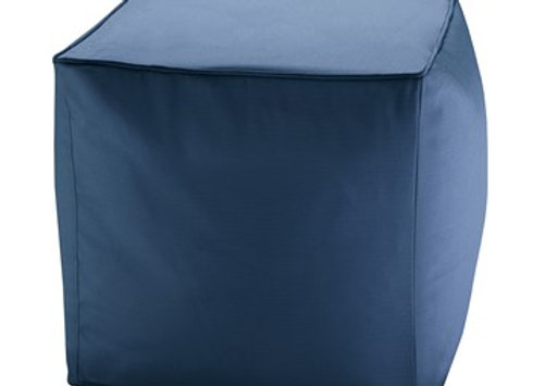 Pacifica Solid 3M Scotchgard Outdoor Square Pouf in Navy