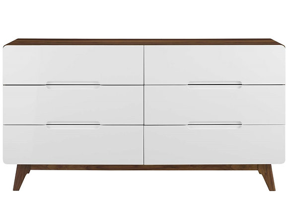 Origin Six-Drawer Wood Dresser or Display Stand in Walnut White