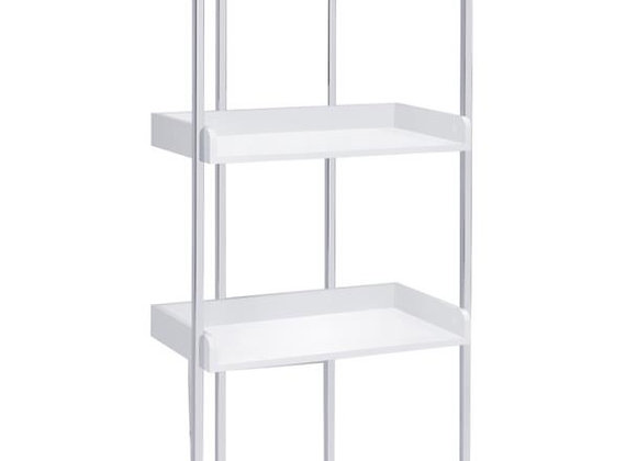 Ember 4-Shelf Bookcase in White High Gloss And Chrome