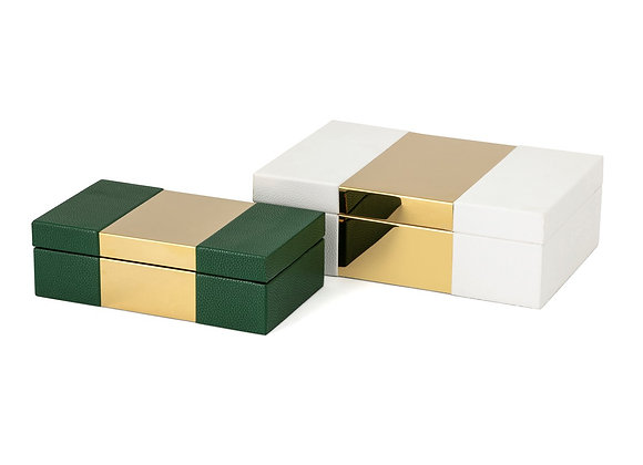 Pongo Faux Leather Boxes - Set of 2