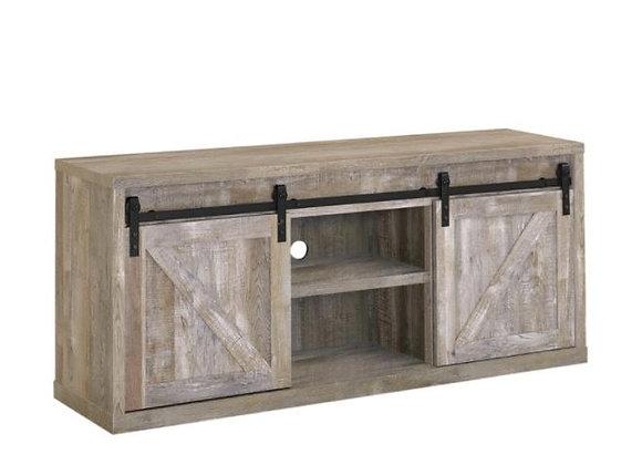 59-Inch 3-Shelf Sliding Doors TV Console in Weathered Oak