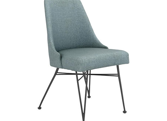 Sherman Upholstered Side Chairs With Hairpin Leg in Blue And Gunmetal
