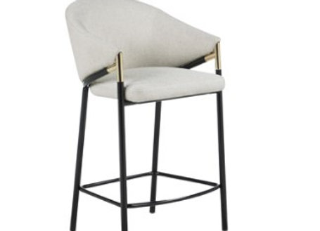 Sloped Arm Counter Height Stool in Beige And Glossy Black