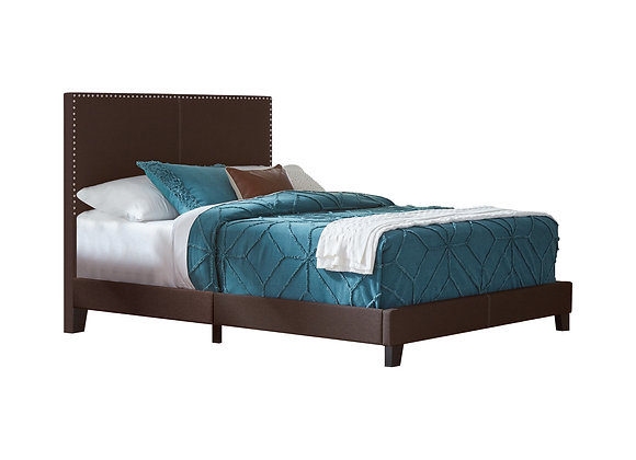 Boyd Twin Upholstered Bed With Nailhead Trim in Brown