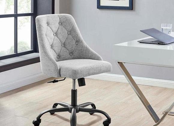 Distinct Tufted Swivel Upholstered Office Chair in Black Light Gray