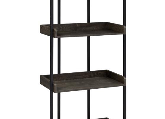 Ember 4-Shelf Bookcase in Dark Oak And Sandy Black