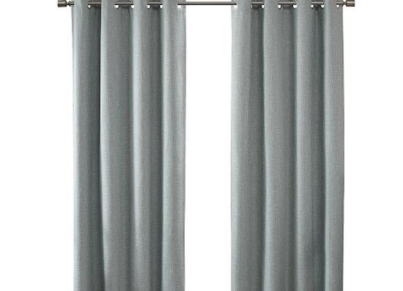 Maya Printed Heathered Blackout Grommet Top Curtain Panel in Aqua