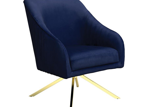 Upholstered Accent Chair in Navy Blue and Gold