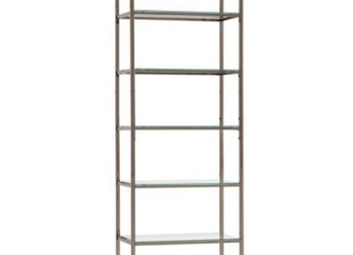 Carmelo 6-Shelf Bookcase in Black Nickel
