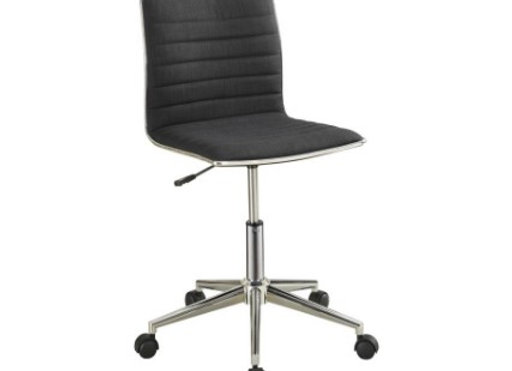 Adjustable Height Office Chair in Black and Chrome