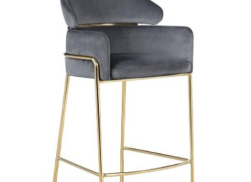 Arched Back Counter Height Stool in Grey And Brass