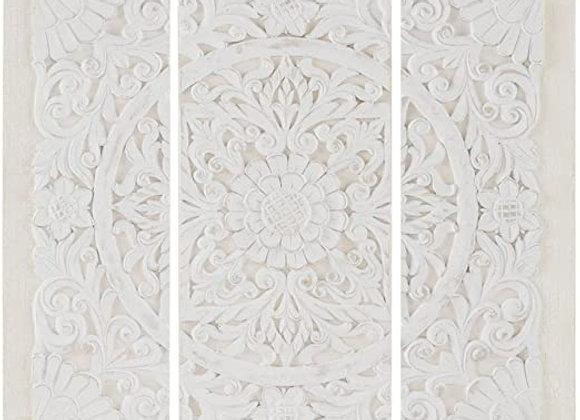 White Mandala 3D Embellished Canvas