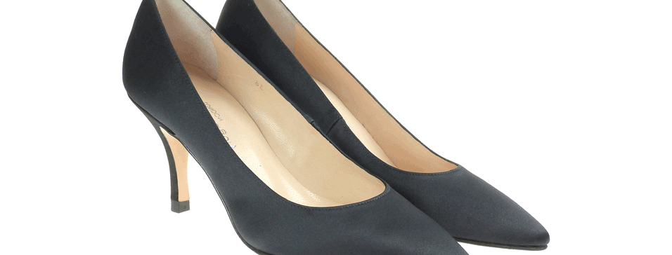 Lauren black crepe satin