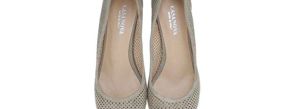 SOVIGNANA Taupe Perforated Suede