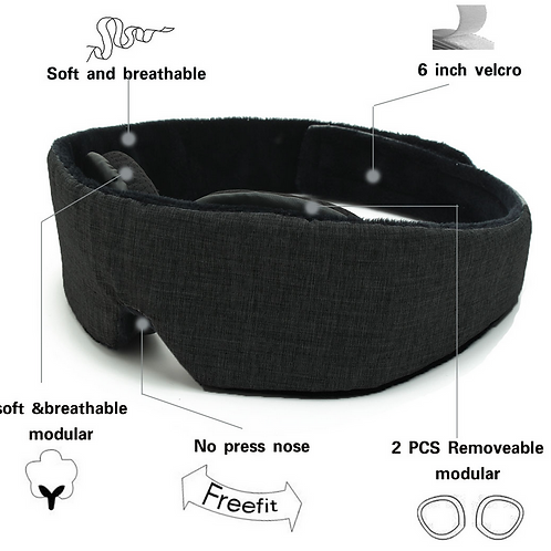 Sleep Eye Mask-3D Breathable,Modular Adjustable- 100% light blocking