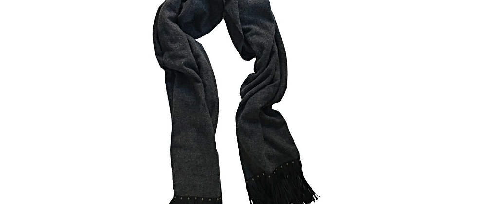 WARRICK Leather Fringed Lambswool Wrap