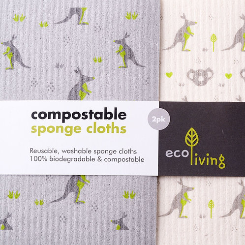 Compostable Sponge Cleaning Cloths - Wildlife Rescue. 2 pack
