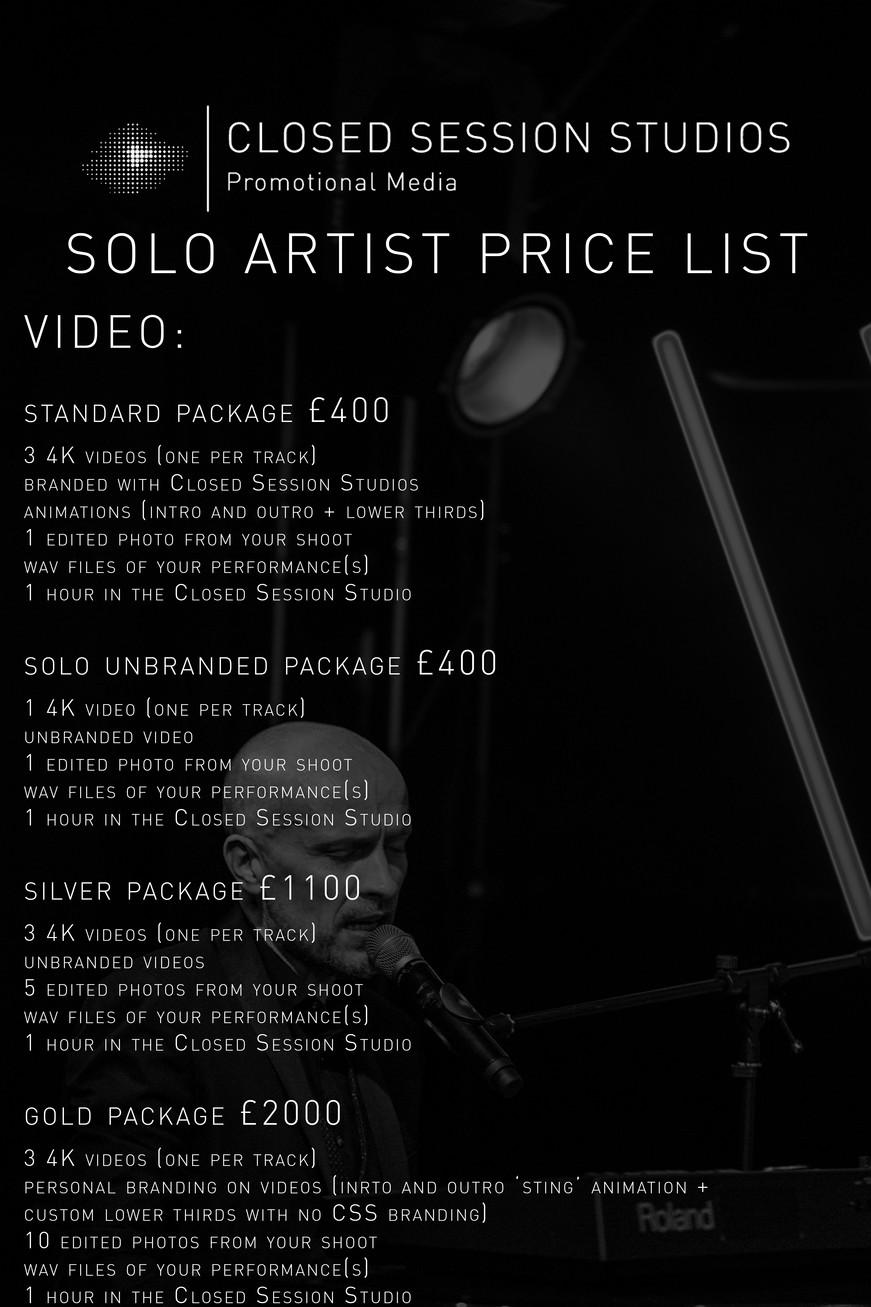 Solo Artist Pricelist