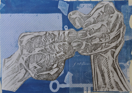 Cyanotype with hands