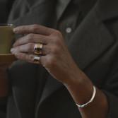 'Santorini' silver&gold ring 'Kos' silver chevalier ring 'Argolis' silver bracelet