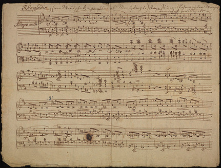 """Autograph manuscript of """"Rhapsodie"""" in D minor for piano, with presentation to his teacher Vaclav Jan Tomasek"""