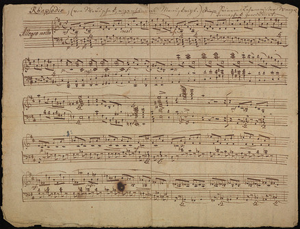 "Autograph manuscript of ""Rhapsodie"" in D minor for piano, with presentation to his teacher Vaclav Jan Tomasek"
