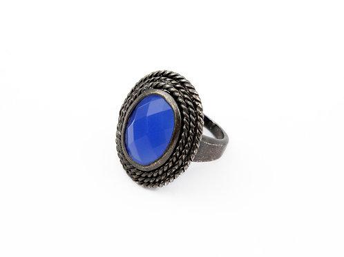 Anel Pedra Azul Em Banho De Rodio Negro