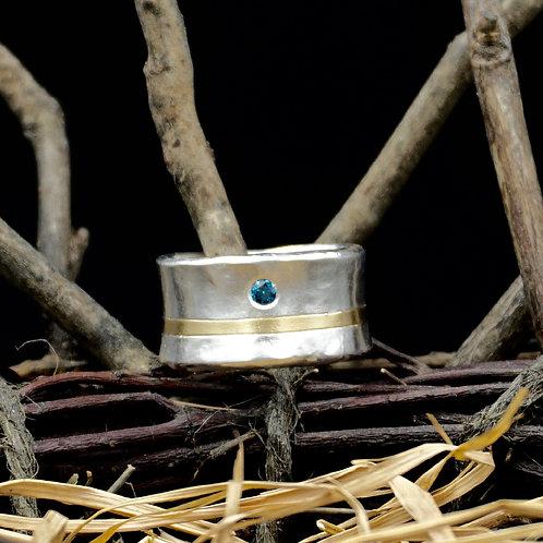 Blue Diamond Fine Silver Ring w/18k Gold Band