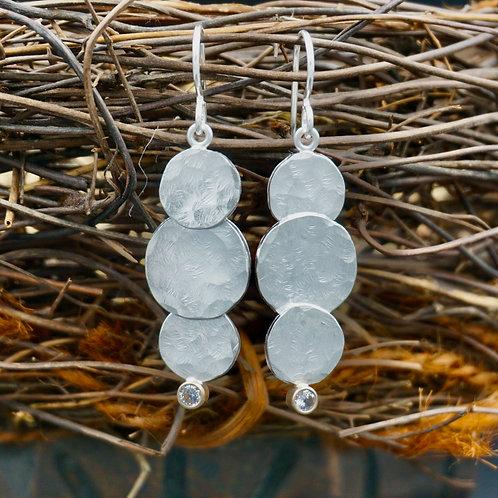 Fine Silver Disc Earrings - 3 Disc