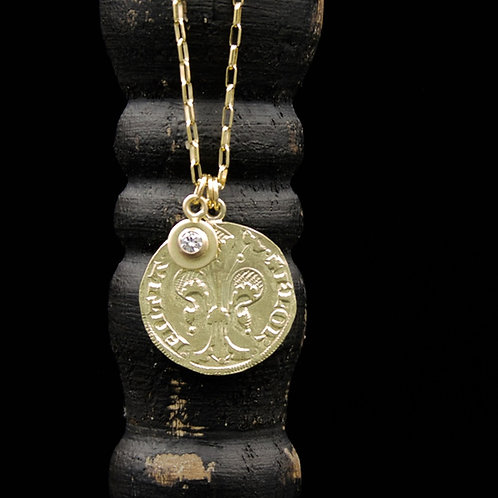 18k Gold Italian Florin Necklace - Replica