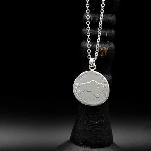 Colorado - Sterling Silver Bucking Ralphie Coin Necklace