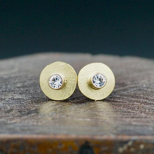 18K Gold Harvest Moon Earrings - Studs