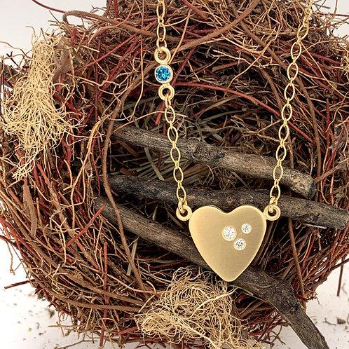 18k Gold Diamond Heart Necklaces - Small & Medium