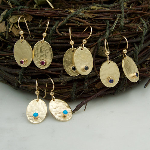 Hammered Oval Earrings with Gemstones