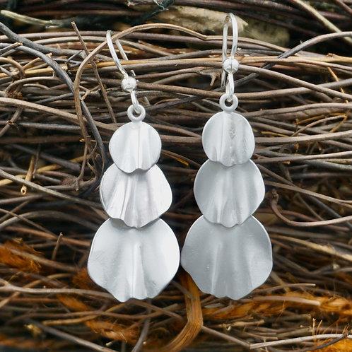 Fine Silver Petal Earrings - Triple