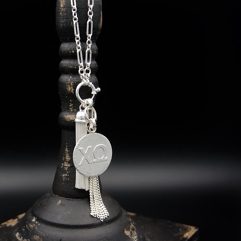 Chi Omega Tassel Necklace (LG) - Wear short or long