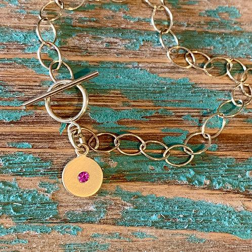 14k Gold Ruby Charm Bracelet