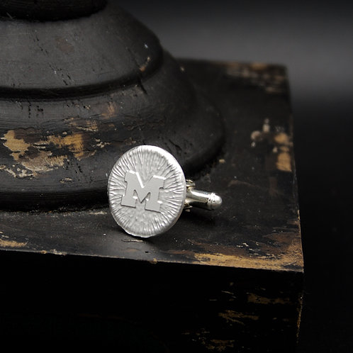 Michigan - M Cuff Links - Sterling Silver
