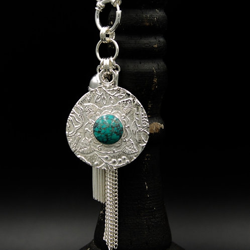 Turquoise Fiore Tassel Necklace - Wear short or long