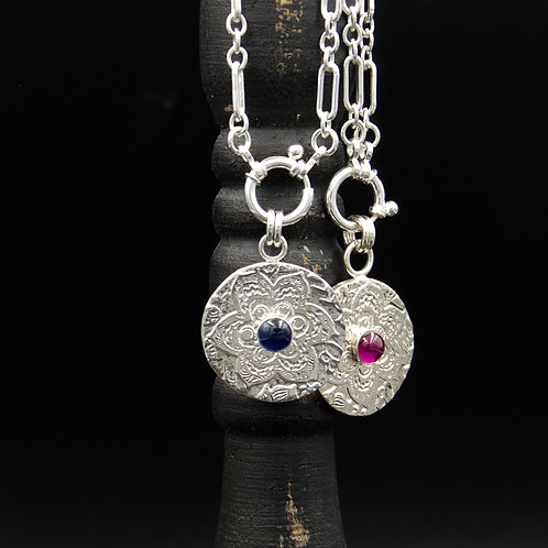 Fiore Medallions w/Cabochons - Wear short or long, Add Tassels