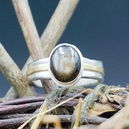 Black Sapphire & 18k Gold Ring
