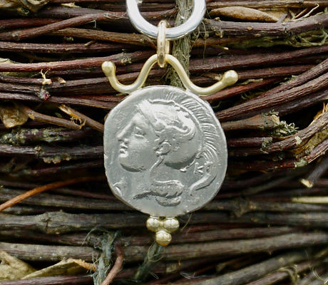 Ancient Athena coin necklace