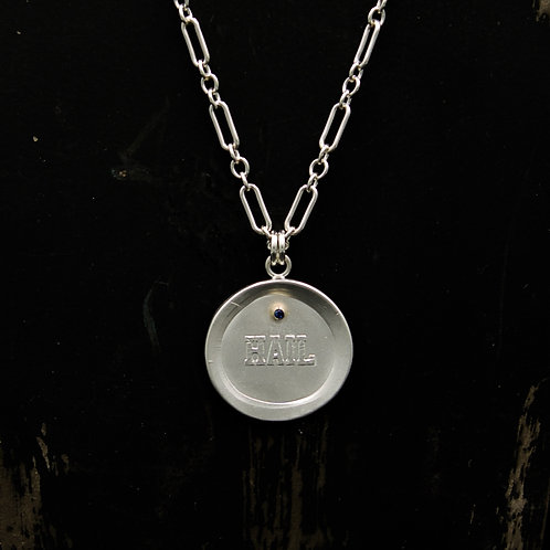 Michigan - Hail w/Sapphire Medallion Necklace LG