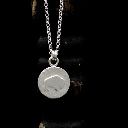 Colorado - Little Hammered Buffalo Necklace