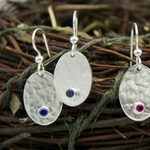 Sterling Silver Hammered Oval Earrings with Gemstones