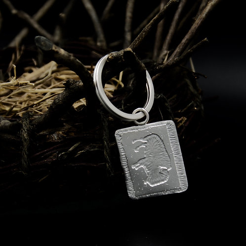 Colorado - Sterling Silver Buffalo Key Ring - Rectangle