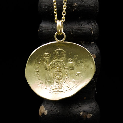 Ancient Byzantine Gold Coin Necklace - Original 24k Gold