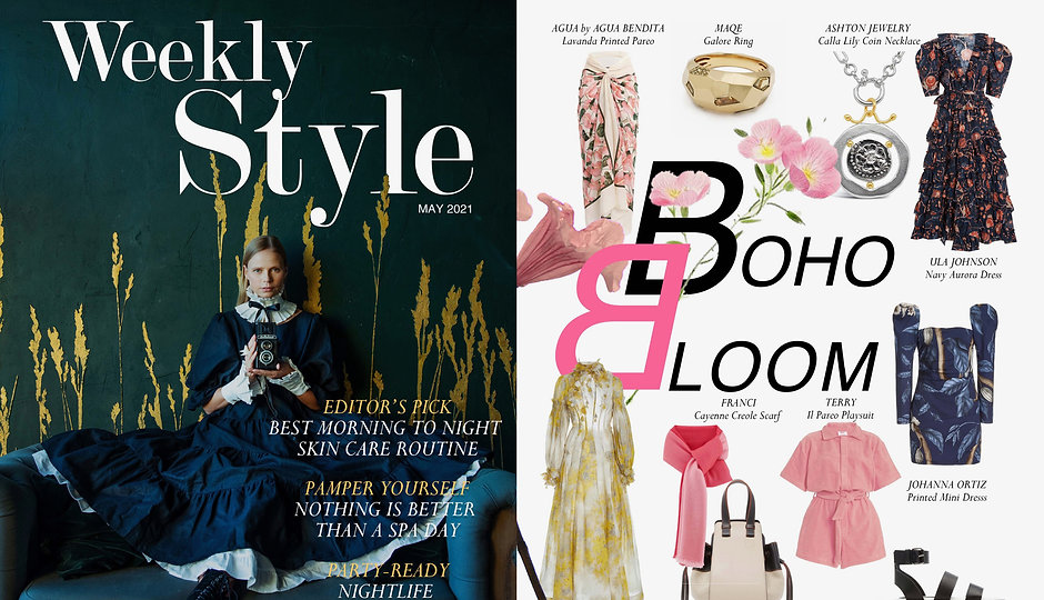 Weekly Style Magazine feature Boho Bloom Ancient Greek Calla Lily coin necklace